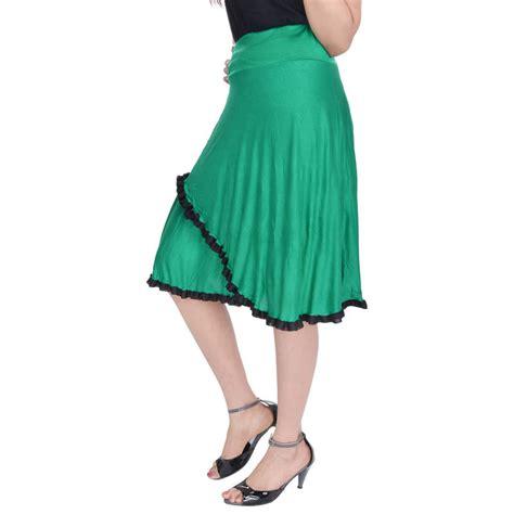 buy green knee length cotton lycra flair skirt