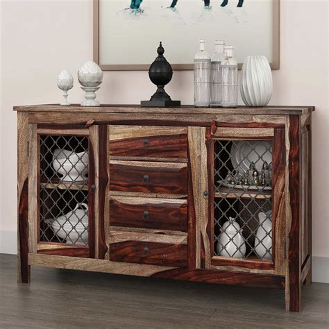 Florida Traditional Rustic Solid Wood 4 Drawer Sideboard Solid Wood Buffet