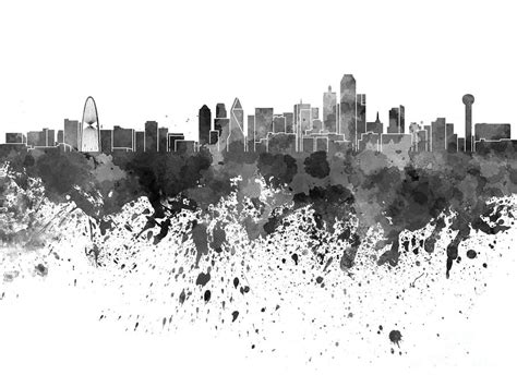 Cityscape Curtains Dallas Skyline In Black Watercolor On White Background