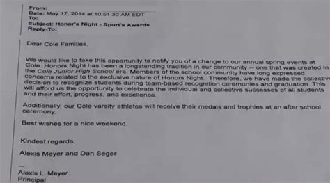 Parent Letter Middle School Cole Middle School Reverses Embarrassing Decision To Cancel Honors