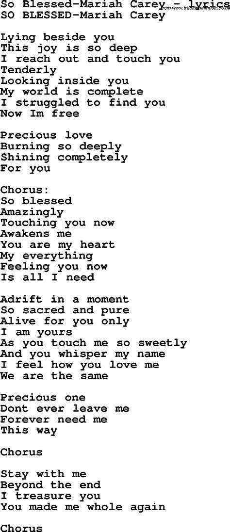lyrics carey song lyrics for so blessed carey