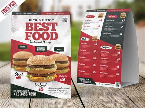 Restaurant Tent Card Template by Restaurant Food Menu Table Tent Card Psd Psdfreebies
