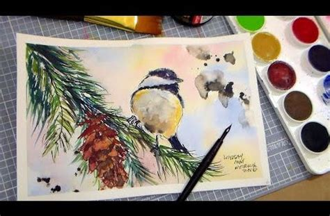 watercolor tutorial chickadee how to paint a chickadee in pen ink and watercolor full