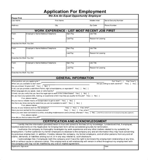 free generic application template sle employment application forms 12 free documents