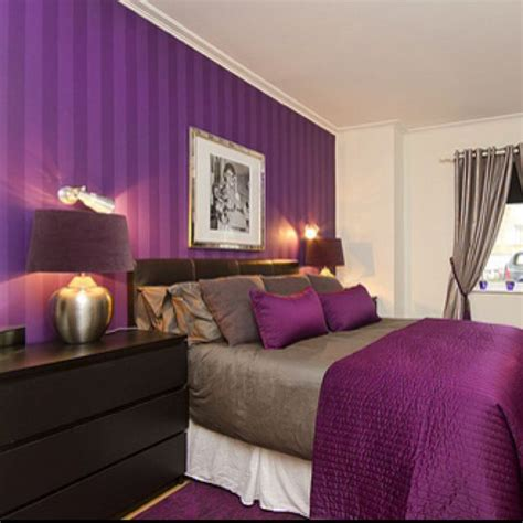purple bed room i love the purple striped wall bedrooms pinterest