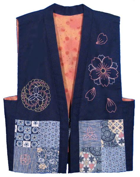 japanese vest pattern garment designs sashiko traditional japanese sashiko