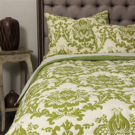 green coverlets damask quilt green