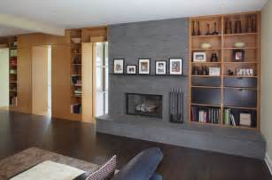 Contemporary Built In Bookshelves Modern Fireplace Tools Family Room Modern With Bookcase