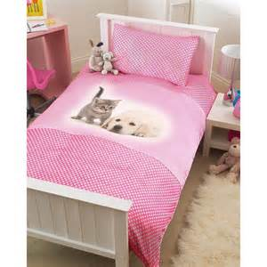 Duvet Covers Children Childrens Pink Puppy Amp Kitten Single Bed Duvet Cover