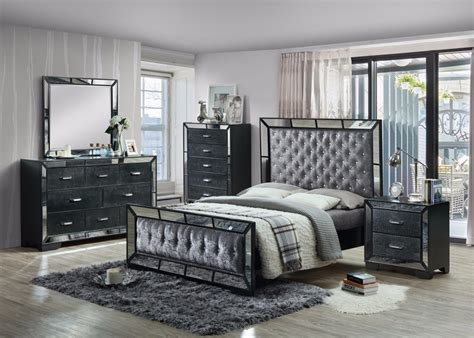 gem  piece bedroom set  mirror crush velvet diamonte detail worldwide furniture source