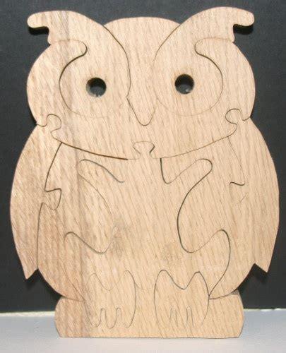 wood animal pattern owl stand up wooden jigsaw puzzle handmade on the scroll