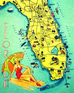 vintage florida map vintage florida map print florida 11x14