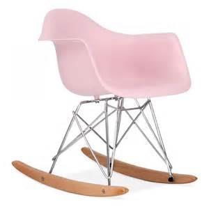 Natural Rocking Chair Charles Eames Style Pastel Pink Kids Rar Rocker Chair