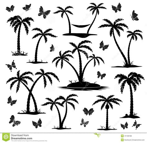 silhouettes of palm trees stock vector image of