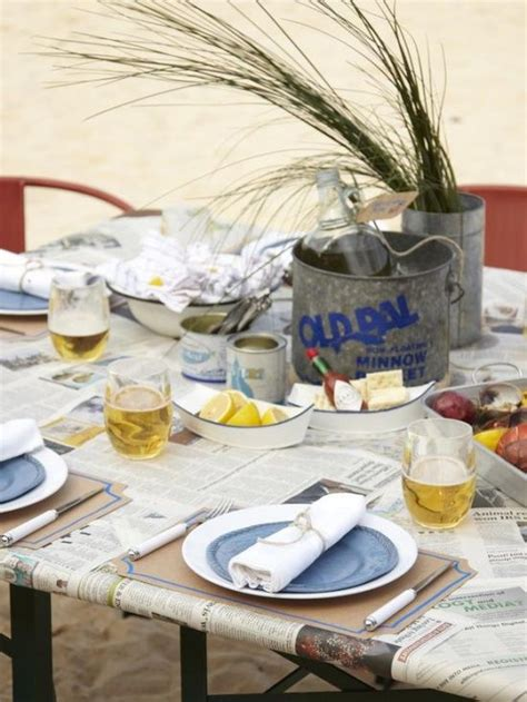newspaper themed birthday tablescapes for summer oyster roast newspaper for