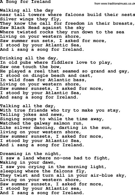 song for a song for ireland by the dubliners song lyrics and chords