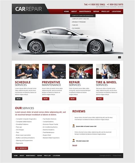 Car Repair Website Template 42561 Mechanic Website Template