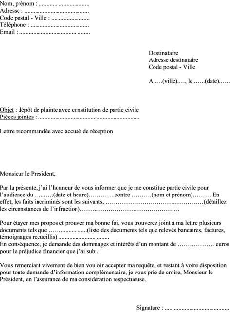Modèle De Lettre Au Président Du Tribunal De Grande Instance mod 232 le de lettre de plainte avec constitution de partie