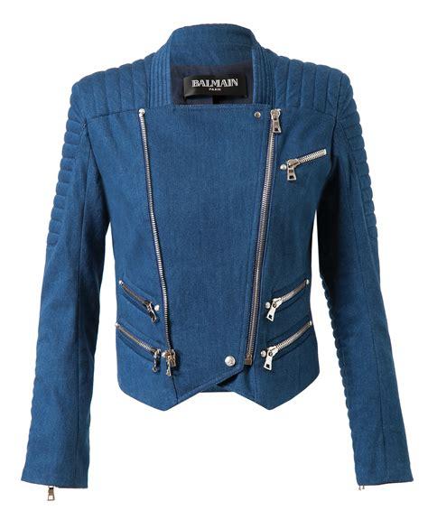 Denim Quilted Jacket by Balmain Quilted Denim Biker Jacket In Blue Lyst