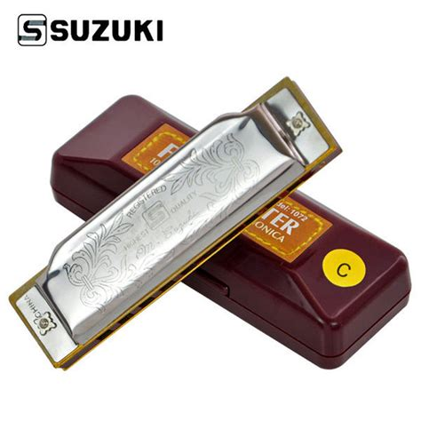 Harmonika Suzuki Folkmaster 10 Holes Key C G A Best Price suzuki folkmaster 1072 standard beginner diatonic blues harmonica gaita 10 holes key of a c d e