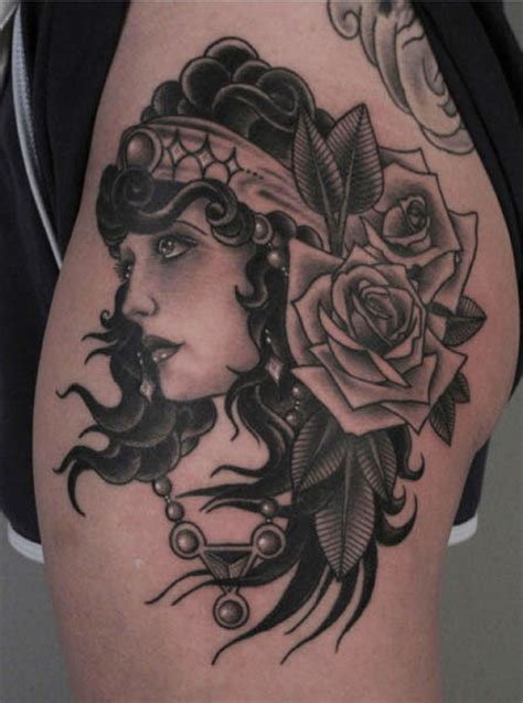 tattoo old school gypsy old school flower gypsy thigh tattoo by saved tattoo