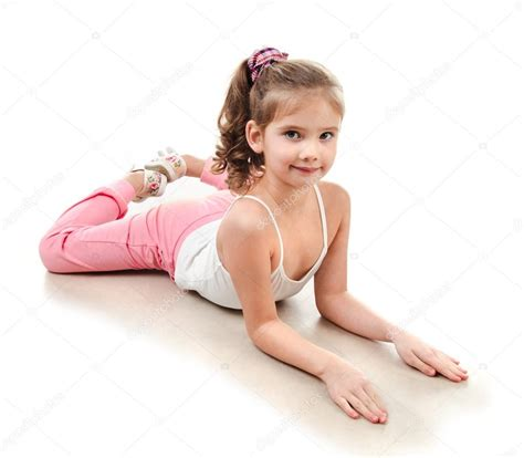 Find Floor Plans by Cute Little Doing Gymnastic Exercise Stock Photo