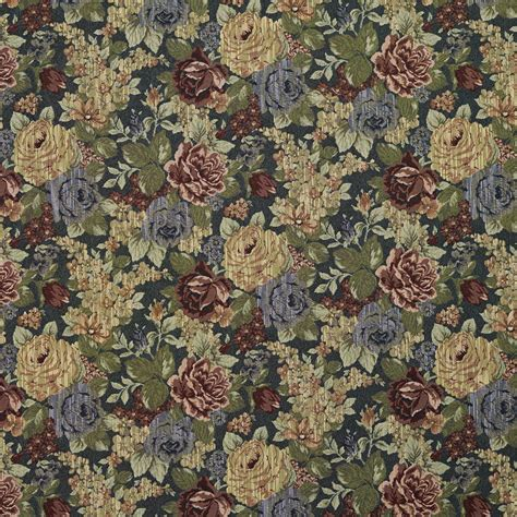 f925 blue and green floral tapestry upholstery fabric