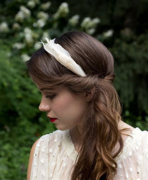 hairstyles with a headband fascinator elegant ivory cream goose feather wedding headband