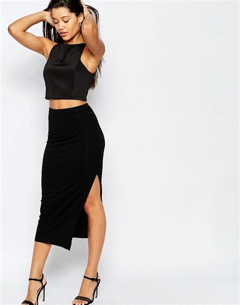 asos asos longer length midi pencil skirt with thigh