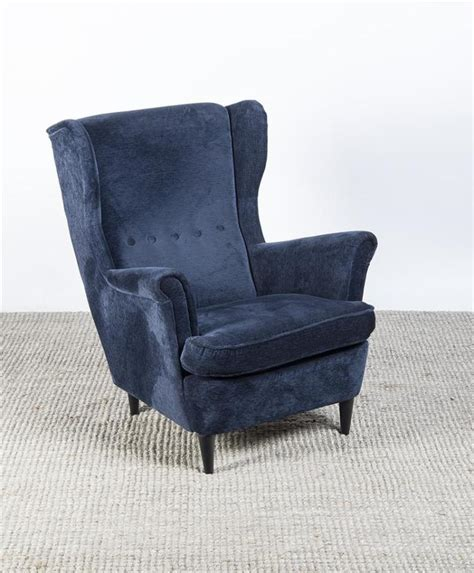 ikea blue velvet blue velvet upholstered and ebonized wing chair ikea