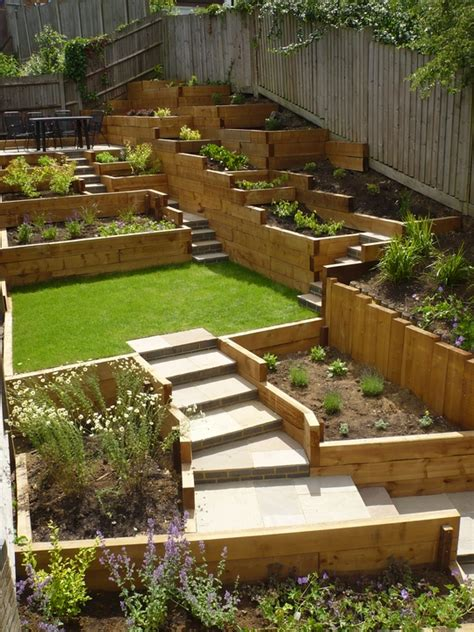 Sloping Garden Design Ideas 1000 Images About Sleepers Retaining Wall On Pinterest
