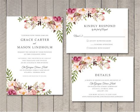 wedding invitation template   printable word