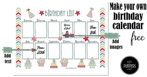 birthday calendar printable customizable  designs