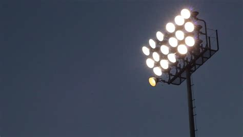 Stadium Lighting Fixtures Pan Of Stadium Lights Stock Footage 1518262