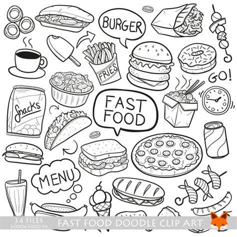 doodle god fast food fast food day restaurant menu doodle icons clipart scrapbook