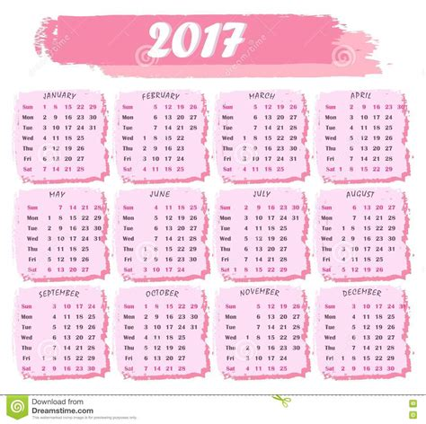 Calendã De Outubro 2017 Calendar For 2017 In Pink Color On A White Background