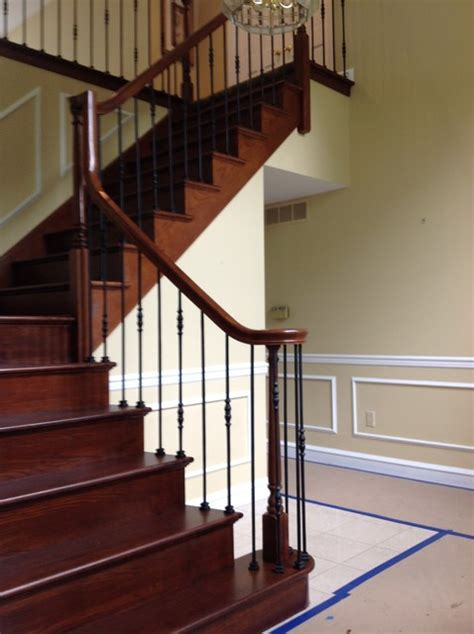 Refinish Banister Railing by Refinish Of Rail Stairs W Satin Black Iron Balusters