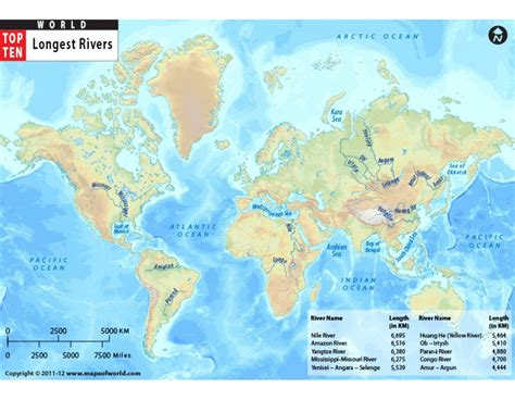 5 major rivers world map world map with top ten rivers