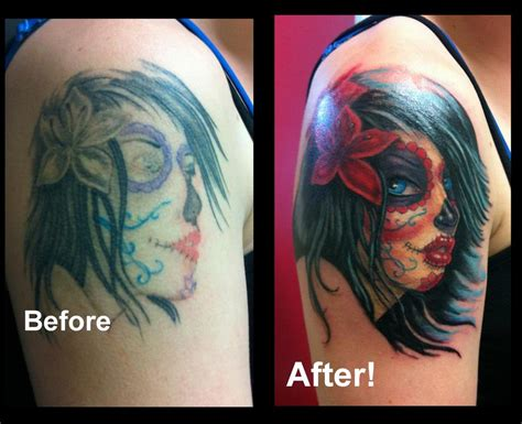 feminine tattoo cover up designs day of the dead feminine cover up by steve