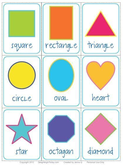 shape flash cards template free shape flashcards and printable delighting