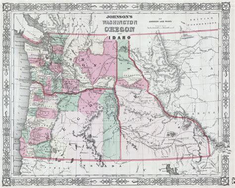 File:1864 Johnson Map of Washington, Oregon and Idaho