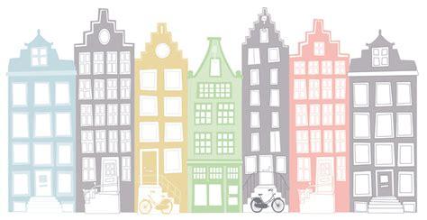 Pastel Groen Muur by Muursticker Grachtenpandje Pastel Groen