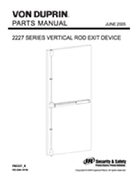 Duprin 2227 Template Von Duprin Parts Manuals For Exit Devices Openers Trim