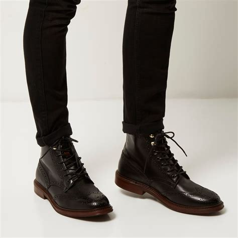 Leather Wingtip Boots lyst river island black leather lace up wingtip boots in