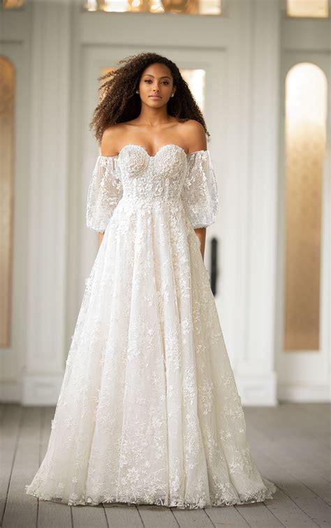 shoulder embroidered lace   wedding dress
