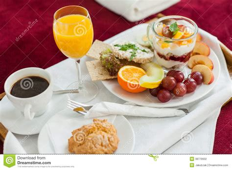 food in the bedroom photo of tray with breakfast food on the bed stock photo image 38779932