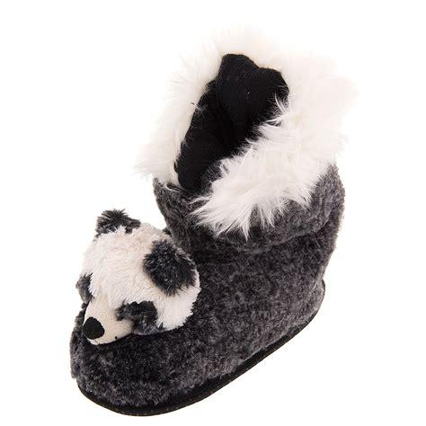 panda slippers black panda plush bootie slippers for