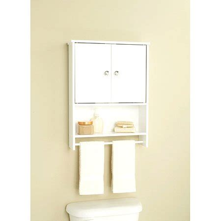 bathroom wall cabinets walmart white 2 door wall with open storage and towel bar