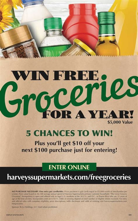Free Grocery Giveaway - free groceries for a year harveys giveaway