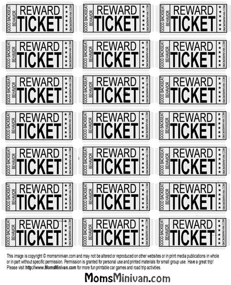 printable good behavior tickets images frompo 1